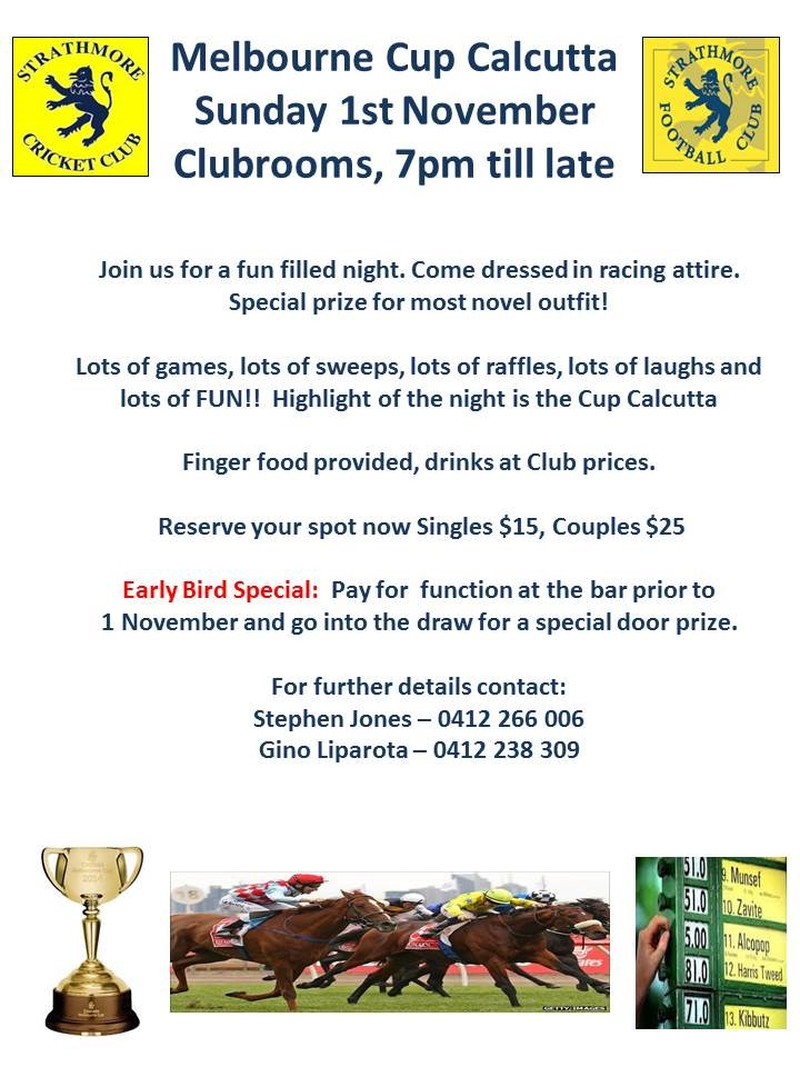 Melbourne Cup Calcutta | Strathmore Football Club
